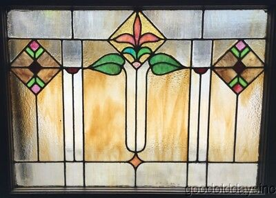 "Antique Chicago Stained Leaded Glass Window 32"" by 25"""