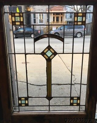 "Antique Chicago Bungalow Style Stained Leaded Glass Window 29"" by 22"""