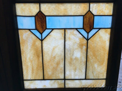 "Antique 1920's Stained Leaded Glass Window 25"" by 24"""