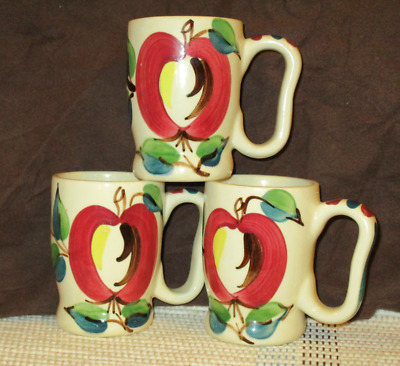 RARE Set 3 PURINTON POTTERY HANDLED COFFEE MUGS Open Apple Cups Bright Colors