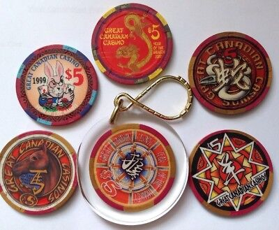 Lot of 6  Canadian Chinese New Year of the monkey $5 2001-2004 casino chip + key