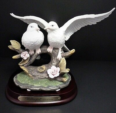 Wellington Collection Bisque Porcelain Doves Of Peace Figurine - Nib