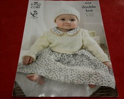 King Cole 4153 Knitting pattern,dk, baby cardigans, cropped top and hat