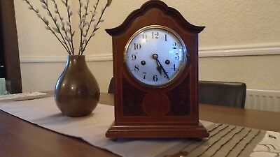 Edwardian Bracket Clock Mahogany With Walnut Inlay 8 Day Key Wind F/w/o