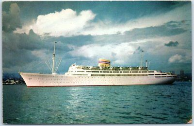 Norwegian American Line Steamship Postcard M/S Bergensfjord Cruise Ship c1950s