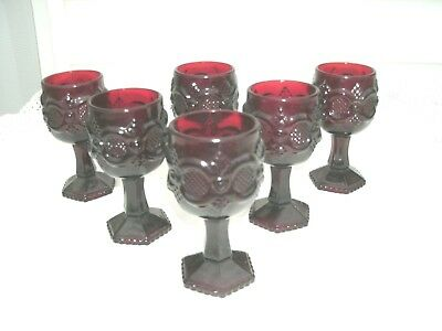 Avon  Cape Cod Collection- Ruby Glass--[7] Wine Goblets/Cordials--NEW w/o Box