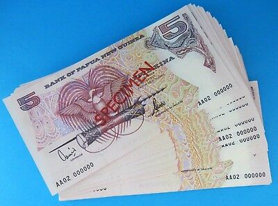 100 Notes PAPUA NEW GUINEA 2002 SPECIMEN 5 Kina AA02 Prefix Bank Notes UNC RARE