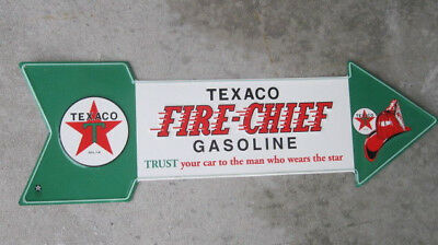 """Texaco Fire Chief Gasoline Metal Tin Sign Fire Helmet Licensed Product 27"""" Long"""