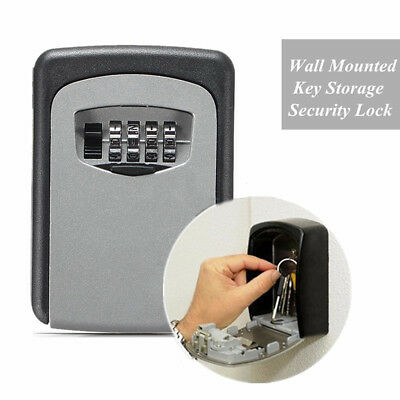 High New Digit Wall Cabinet Mount Box Safe Security Lock Case 4 Combination Key
