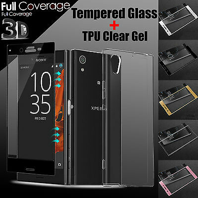TPU Case + 3D Full Curved Tempered Glass LCD Screen Protector For Sony Xperia