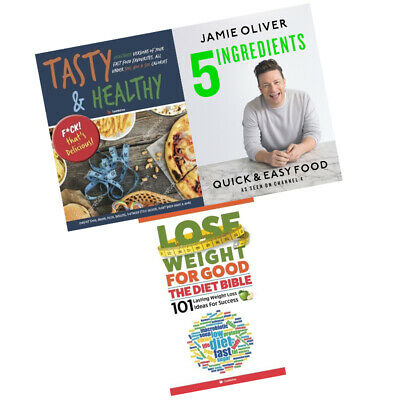 Jamie Oliver Quick & Easy Food 5 Ingredients Coock Recipes 3 Books Collection