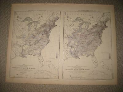 Antique 1874 United States Census Population Map 1830 1840 Texas Florida Ohio Nr