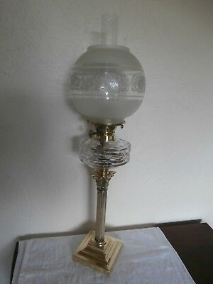 Oil Lamp: Superb Antique Edwardian Corinthian Pillar Table Lamp: Brass/cut Glass