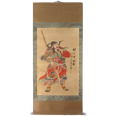Chinesisches Rollbild Guan Yu antik finish 42x176cm China Kalligrafie