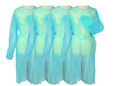 100pcs Disposable Long Sleeved Surgical Gown, Elastic Cuffs, Blue, CE-certified