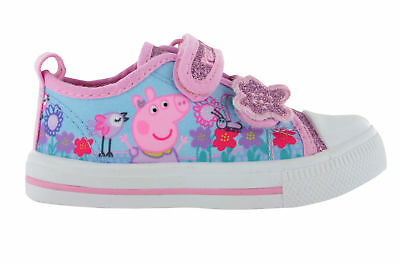 Girls Peppa Pig Glitter Pink Sports Trainers Shoes Hook & Loop UK Sizes 5 - 10