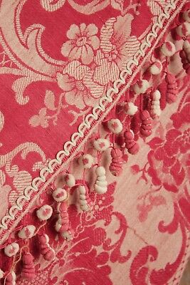 Antique French red damask curtain bed drape w TRIM c 1850 STUNNING