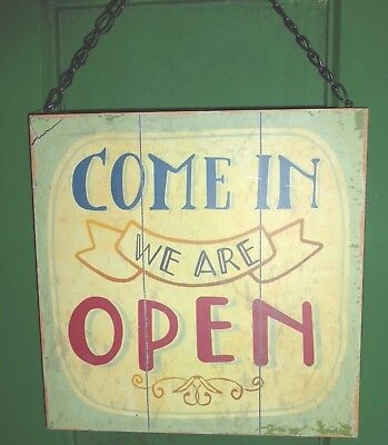 Vintage Sign 2 Sided Open / Closed Hanging Door Shop Retail Plaque With Chain