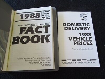1988 Porsche DEALER-only Fact Book 944 928 911 Turbo Sales Ref Internal Brochure