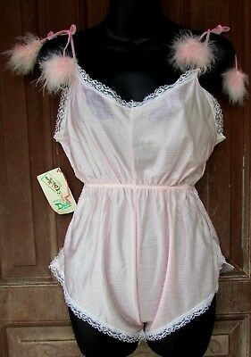 NOS Vtg Deala of Maimi PINK Nylon Feather Romper Cameo Teddy Lingerie M