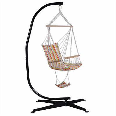 Steel C Frame Porch Hammock Swing Chair Stand Free Standing Indoor Outdoor Hook Eur 263 65 Picclick Fr