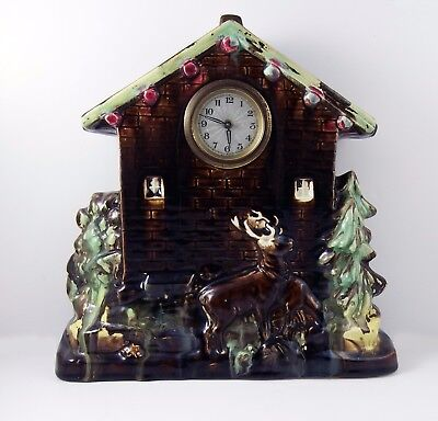 Antique Treacle Glaze Stags, House Form, Pottery Mantel Clock