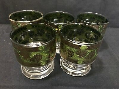 Set of 5 ~ Cera Green / Gold Grape Leaf Stack-able Old Fashioned Glass Tumblers