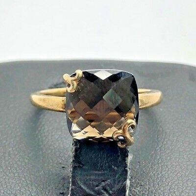 Sterling Silver 925 Vermeil Cushion Faceted Smoky Brown Topaz Leaf Cocktail Ring