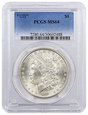 Random Date 1878-1904 Morgan Silver Dollar $1 Coin PCGS MS64 SKU33811