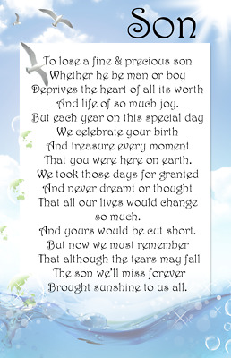 A+ DAD SON First Birthday in Heaven Bereavement Graveside Memorial  Card M29