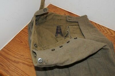 Vintage WW2  Button Fly Wool Uniform Pants 34 US Army Military Orig. Period Item
