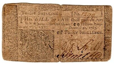 1763, New Jersey, 15 shillings, signed by Richard Smith, Continental Congress