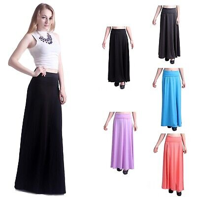 Women's Fashion Solid Jersey Full Length Long Fold Over Spandex Maxi Skirt Dress