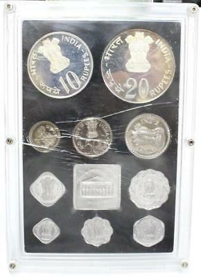 India republic 1973 proof coin set 10 coins + medal + box  damaged case