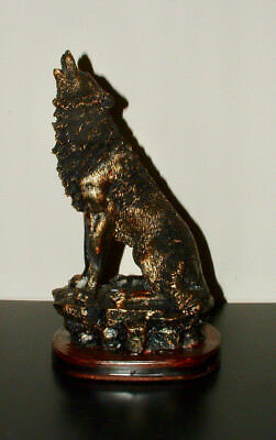 """10"""" Polyresin Imitation Bronzed Paint Howling Wolf Collectible Figurine Statue"""