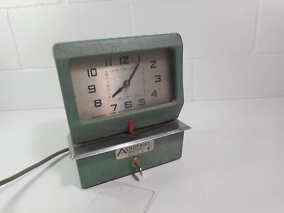 Acroprint Time Recording Punch Card Time Clock--Working w/Key