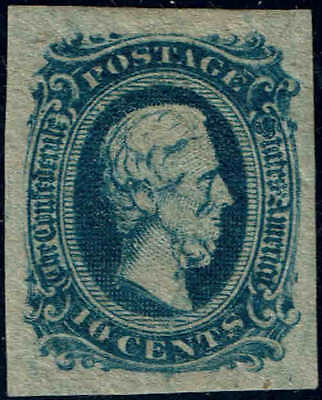 "CSA11 1863-64 10c "" DEEP BLUE "" CONFEDERATE STATES ISSUE MINT-OG/H--VF"