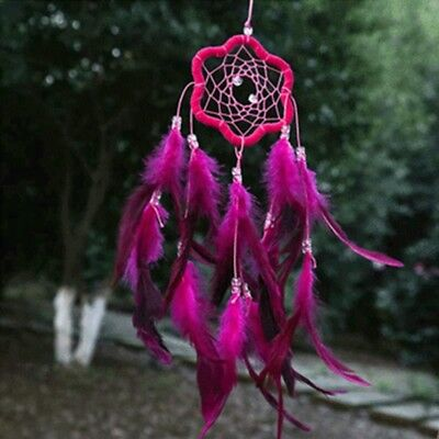 Plum Blossom Dream Catcher with Feather Wall Car Hanging Decoration Rose Red