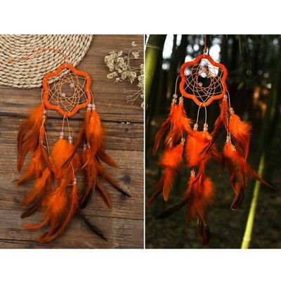 Plum Blossom Dream Catcher with Feather Wall Car Hanging Decoration Orange
