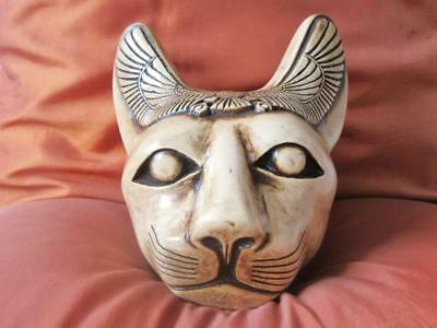 XLARGE Antique Solid Statue of Ancient Egyptian BASTET Cat Goddess Head Figurine
