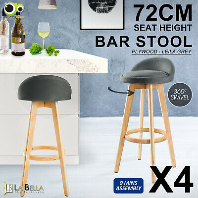 4 x Oak Wood Bar Stool Wooden Barstool Dining Chair Kitchen Fabric LEILA GREY