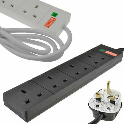 Surge Protected 4 Gang Way Mains Extension Socket UK 13A 1m/2m/3m/5m Black/White