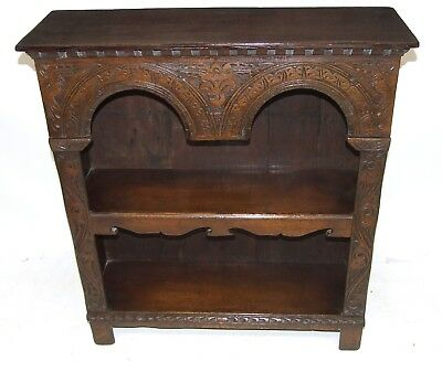 Antique Carved Oak Table Top Bookcase Shelving : 16th Century Elizabethan Manner