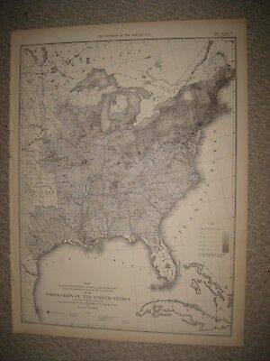 Antique 1874 United States Census Population 1860 Map Texas Florida Illinois Rar