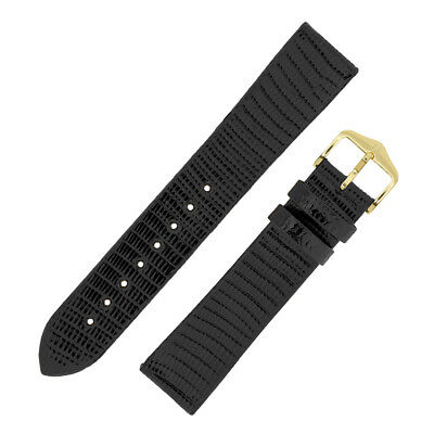 Hirsch Genuine LIZARD Scale Leather Shiny Strap for Dress Watches in BLACK Gloss