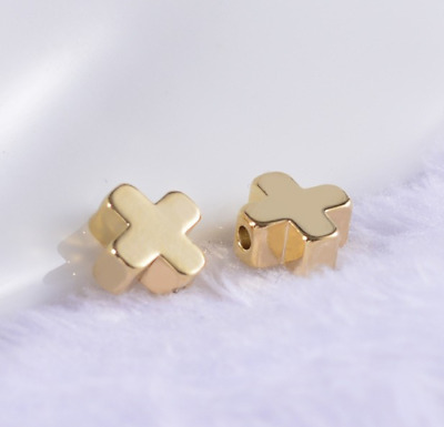 Free Ship 100pcs Cross Bead Gold plated spacer Beads Jewerly Accessories 6mm