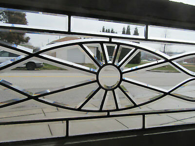 ~ Antique Full Beveled Glass Transom Window ~ 55 X 20 ~ Architectural Salvage