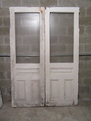 ~ ANTIQUE DOUBLE ENTRANCE FRENCH DOORS  ~ 60 x 87 ~  ARCHITECTURAL SALVAGE