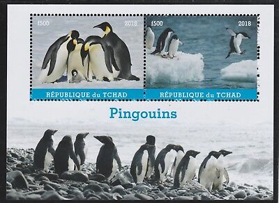 7374  CHAD 2018 PENGUINS perf  sheetlet containing 2 values unmounted mint