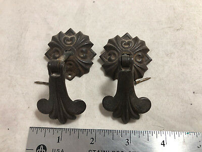 "Lot of 2 Antique Ornate Tear Drop Drawer Pulls Gothic Victorian Iron 1"" Shank"